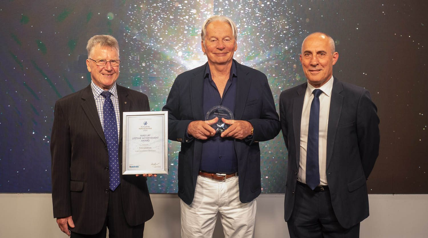 (L to R) Brain Negus, ITS Australia Ambassador and Chairman, CICA Group; Peter Sweatman, Max Lay Award Winner; and Dean Zabrieszach, ITS Australia President