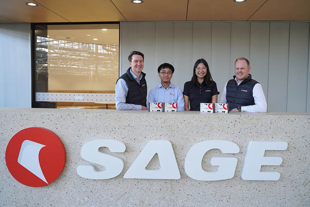 The SAGE Edge Team (L to R): Senior Systems Engineer, Ashby Martin; System Engineer, Keith Man; Engineering Officer, San Tran; Project Manager, Sam Woods.